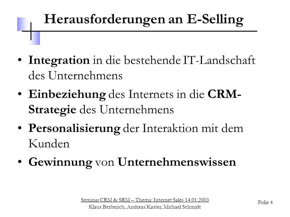 Seminar CRM & SRM – Thema: Internet Sales 14.01.2003 Klaus Berberich, Andreas Kaster, Michael Schmidt Folie 5 Übersicht Motivation o Szenarien im E-Selling o Technische Aspekte o Einsatz eines ISA Systems o Perspektiven