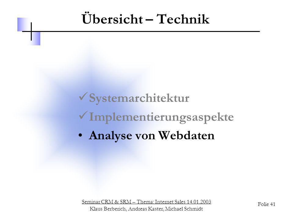 Seminar CRM & SRM – Thema: Internet Sales 14.01.2003 Klaus Berberich, Andreas Kaster, Michael Schmidt Folie 41 Übersicht – Technik Systemarchitektur I