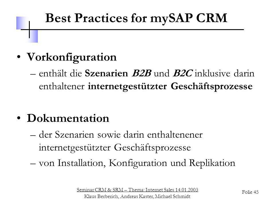Seminar CRM & SRM – Thema: Internet Sales 14.01.2003 Klaus Berberich, Andreas Kaster, Michael Schmidt Folie 45 Best Practices for mySAP CRM Vorkonfigu