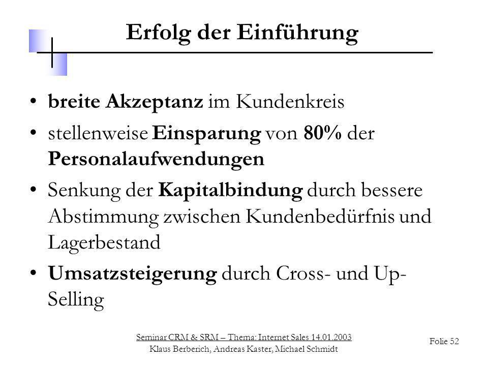 Seminar CRM & SRM – Thema: Internet Sales 14.01.2003 Klaus Berberich, Andreas Kaster, Michael Schmidt Folie 52 Erfolg der Einführung breite Akzeptanz