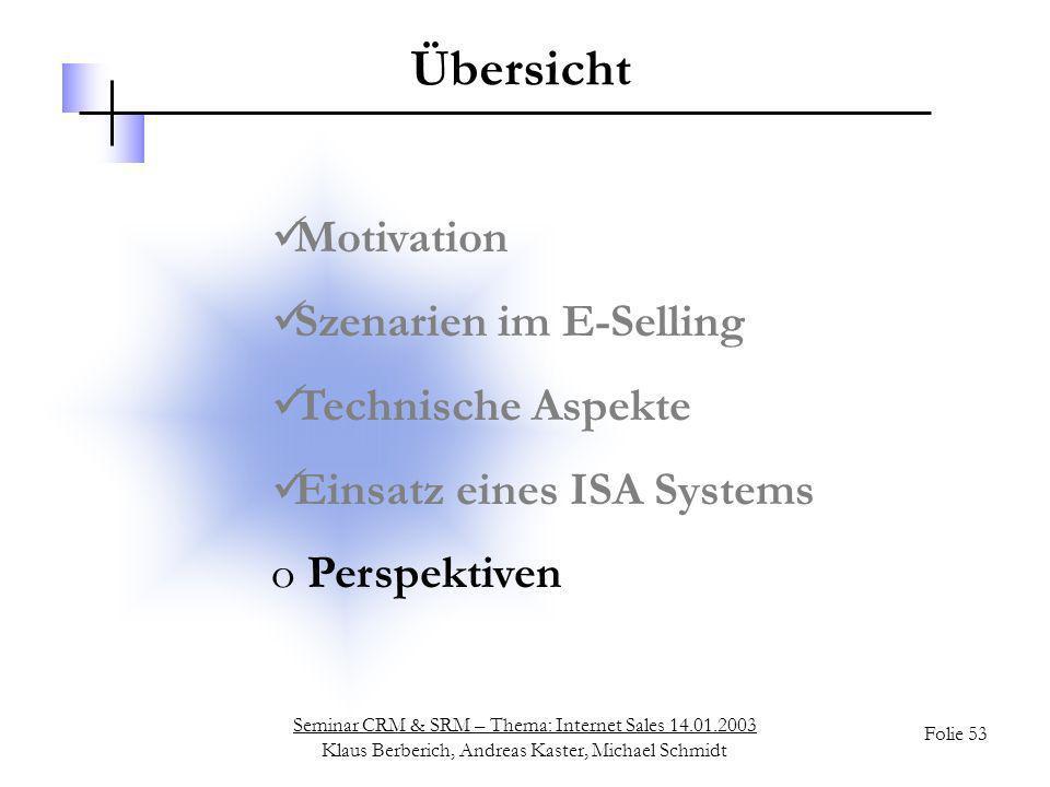 Seminar CRM & SRM – Thema: Internet Sales 14.01.2003 Klaus Berberich, Andreas Kaster, Michael Schmidt Folie 53 Übersicht Motivation Szenarien im E-Sel