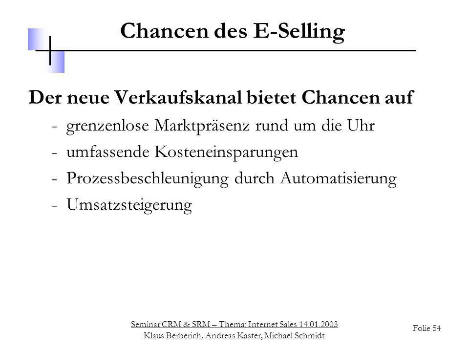 Seminar CRM & SRM – Thema: Internet Sales 14.01.2003 Klaus Berberich, Andreas Kaster, Michael Schmidt Folie 54 Chancen des E-Selling Der neue Verkaufs