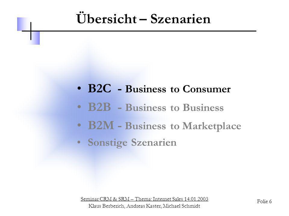 Seminar CRM & SRM – Thema: Internet Sales 14.01.2003 Klaus Berberich, Andreas Kaster, Michael Schmidt Folie 6 Übersicht – Szenarien B2C - Business to