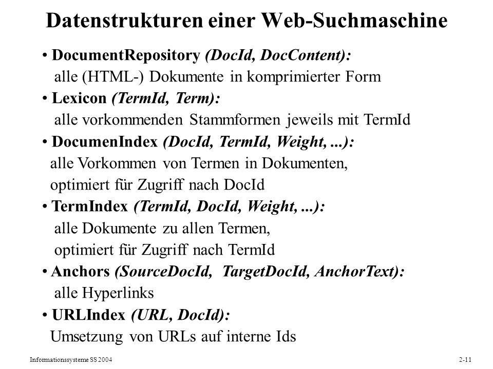 Informationssysteme SS 20042-11 Datenstrukturen einer Web-Suchmaschine DocumentRepository (DocId, DocContent): alle (HTML-) Dokumente in komprimierter