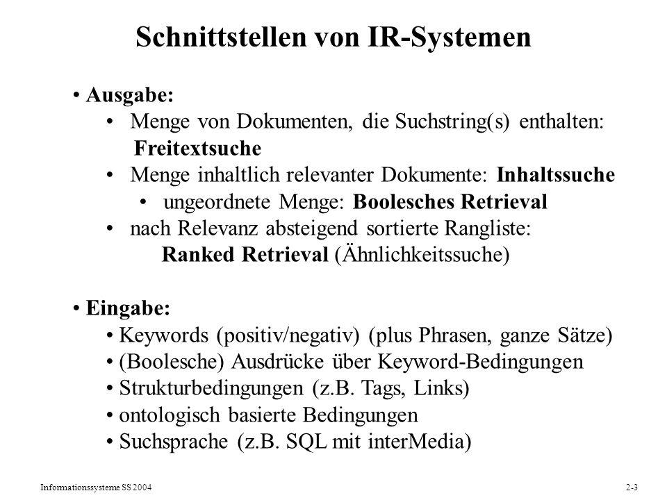 Informationssysteme SS 20042-3 Schnittstellen von IR-Systemen Ausgabe: Menge von Dokumenten, die Suchstring(s) enthalten: Freitextsuche Menge inhaltli