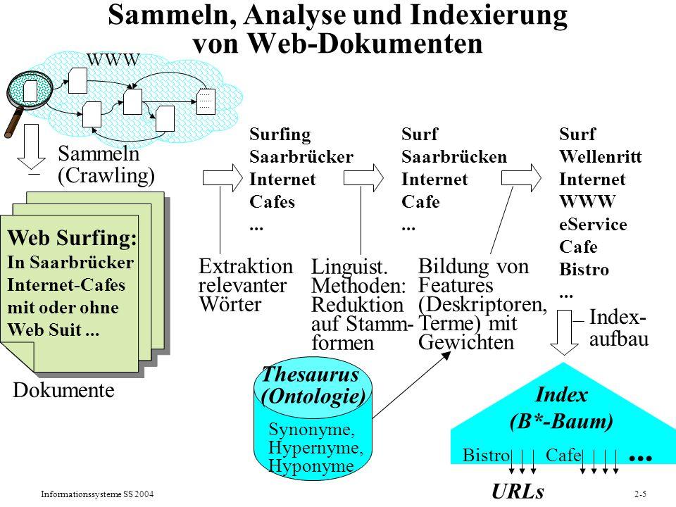 Informationssysteme SS 20042-5 Sammeln, Analyse und Indexierung von Web-Dokumenten Dokumente Web Surfing: In Saarbrücker Internet-Cafes mit oder ohne