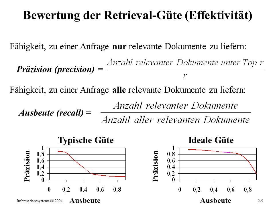 Informationssysteme SS 20042-9 Bewertung der Retrieval-Güte (Effektivität) Fähigkeit, zu einer Anfrage nur relevante Dokumente zu liefern: Präzision (
