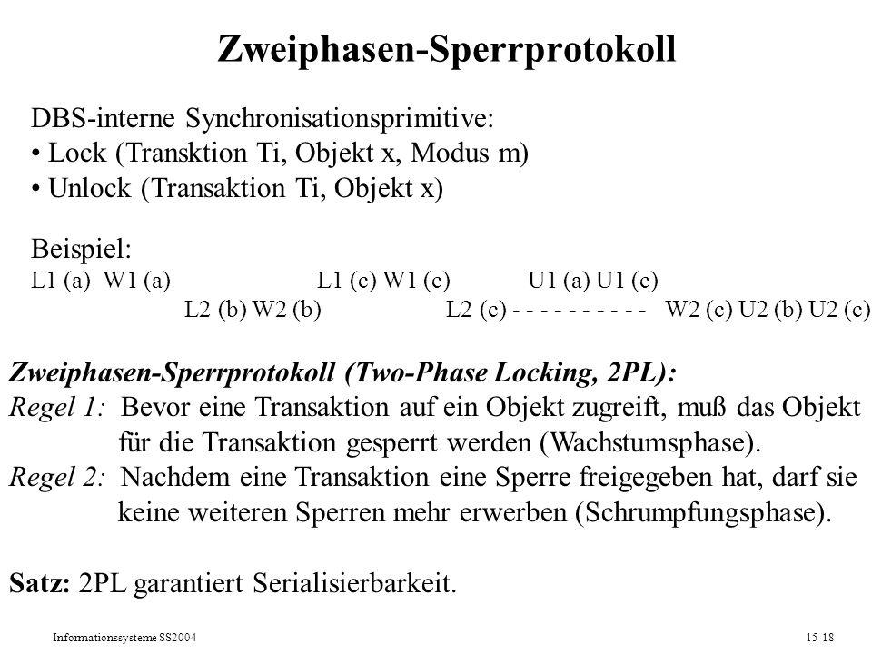 Informationssysteme SS200415-18 Zweiphasen-Sperrprotokoll DBS-interne Synchronisationsprimitive: Lock (Transktion Ti, Objekt x, Modus m) Unlock (Trans