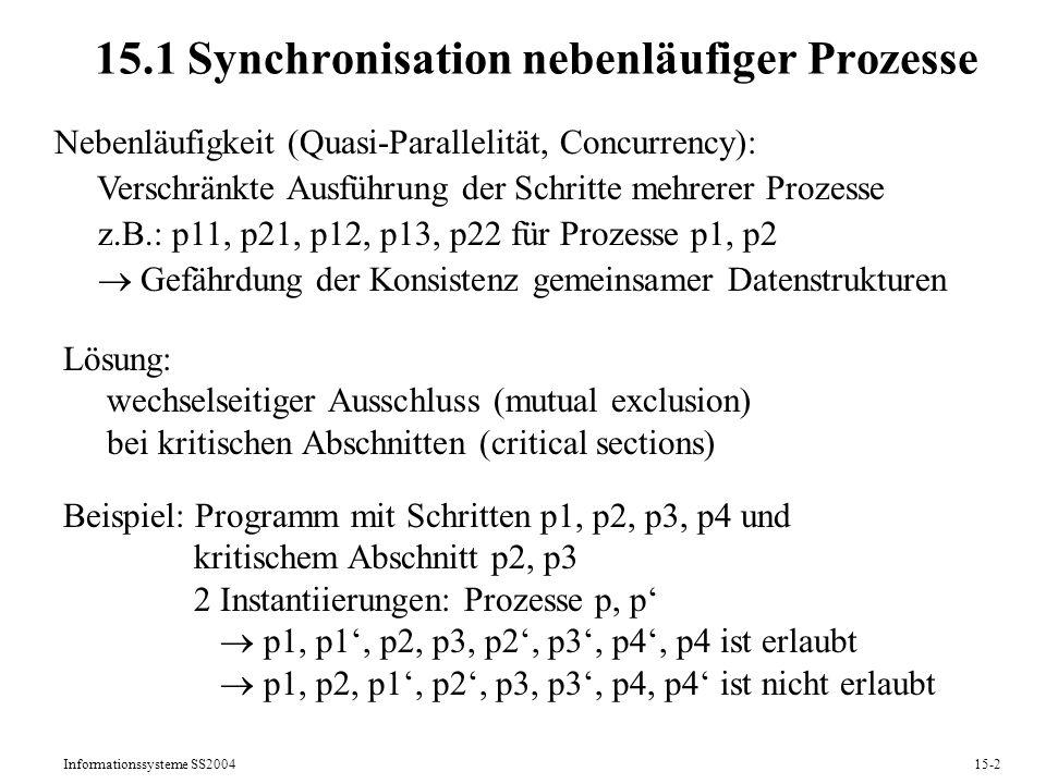 Informationssysteme SS200415-2 15.1 Synchronisation nebenläufiger Prozesse Nebenläufigkeit (Quasi-Parallelität, Concurrency): Verschränkte Ausführung