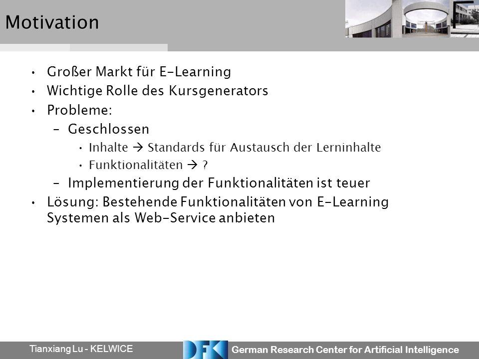 German Research Center for Artificial Intelligence Tianxiang Lu - KELWICEMotivation Großer Markt für E-Learning Wichtige Rolle des Kursgenerators Prob