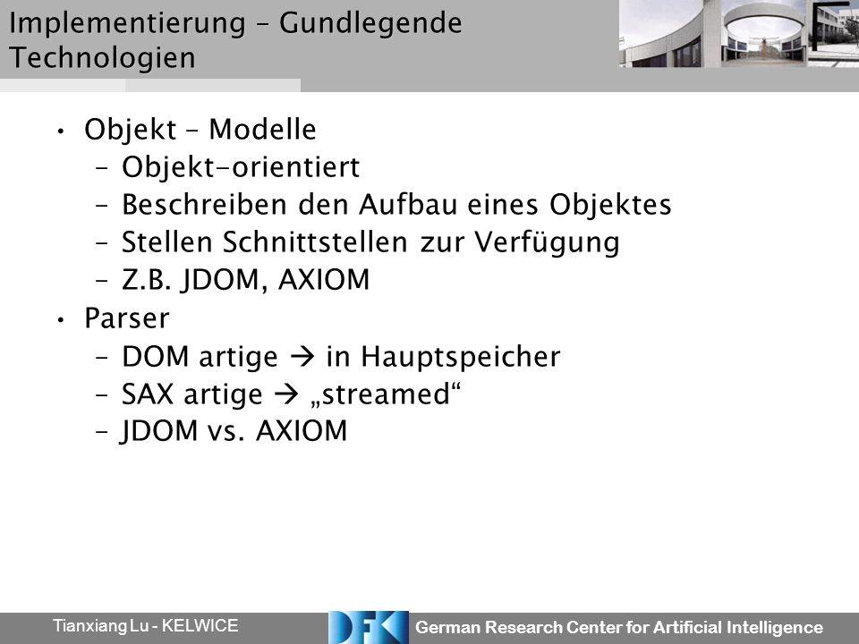 German Research Center for Artificial Intelligence Tianxiang Lu - KELWICE Implementierung – Gundlegende Technologien Objekt – Modelle –Objekt-orientie