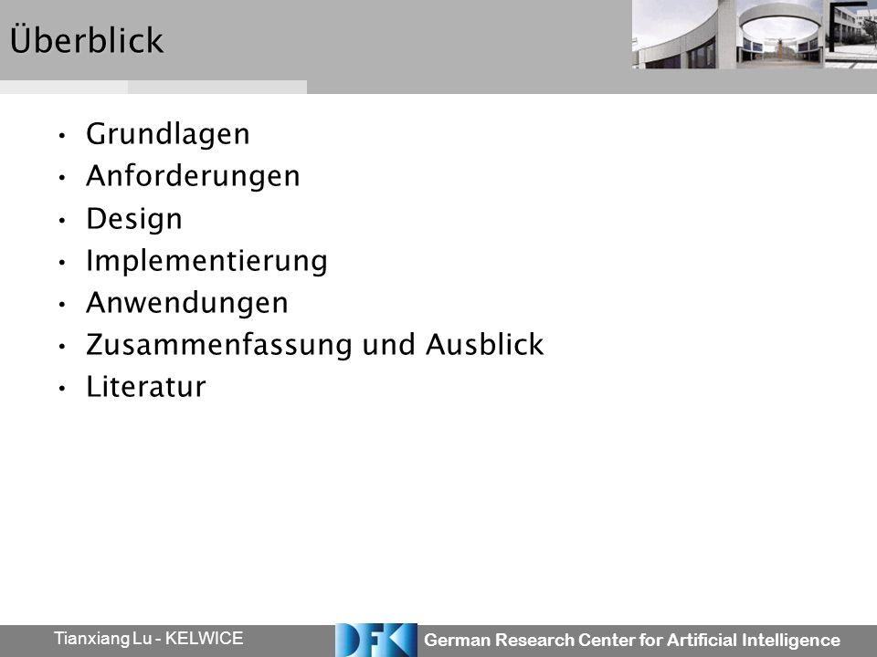 German Research Center for Artificial Intelligence Tianxiang Lu - KELWICEÜberblick Grundlagen Anforderungen Design Implementierung Anwendungen Zusamme