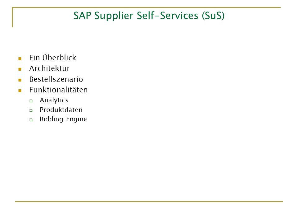 SAP Supplier Self-Services (SuS) Ein Überblick Architektur Bestellszenario Funktionalitäten Analytics Produktdaten Bidding Engine