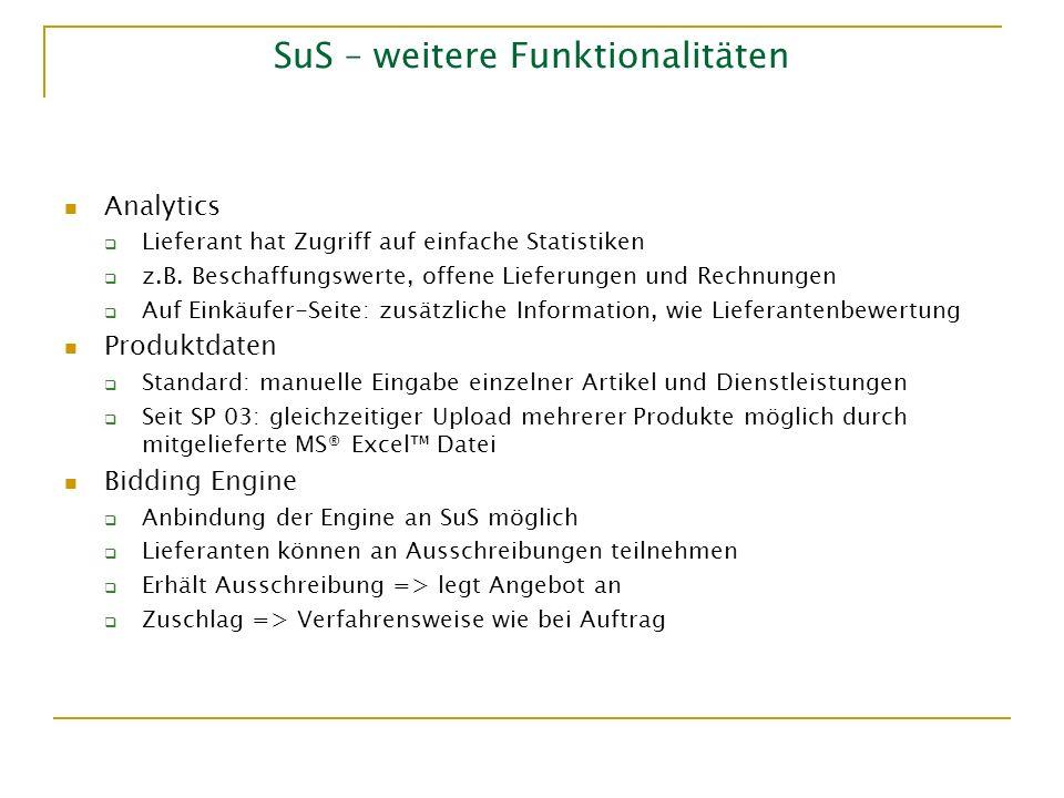 SuS – weitere Funktionalitäten Analytics Lieferant hat Zugriff auf einfache Statistiken z.B. Beschaffungswerte, offene Lieferungen und Rechnungen Auf