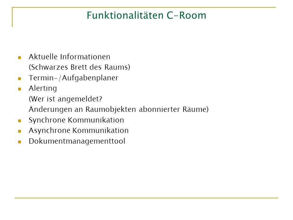 Funktionalitäten C-Room Aktuelle Informationen (Schwarzes Brett des Raums) Termin-/Aufgabenplaner Alerting (Wer ist angemeldet? Änderungen an Raumobje