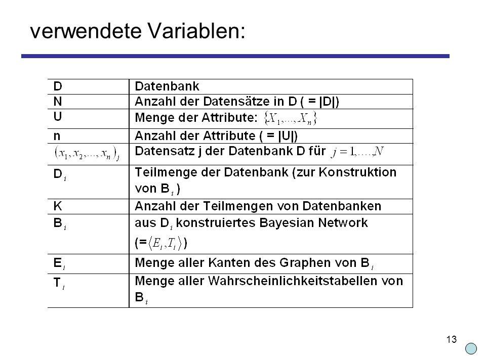 13 verwendete Variablen: