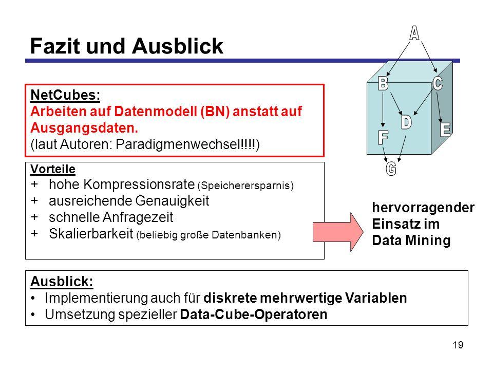 19 Fazit und Ausblick Vorteile +hohe Kompressionsrate (Speicherersparnis) +ausreichende Genauigkeit +schnelle Anfragezeit +Skalierbarkeit (beliebig große Datenbanken) Ausblick: Implementierung auch für diskrete mehrwertige Variablen Umsetzung spezieller Data-Cube-Operatoren hervorragender Einsatz im Data Mining NetCubes: Arbeiten auf Datenmodell (BN) anstatt auf Ausgangsdaten.