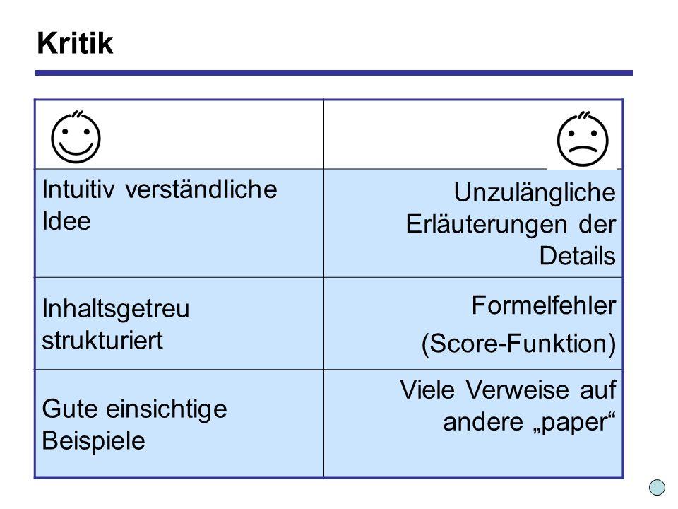 Kritik Intuitiv verständliche Idee Unzulängliche Erläuterungen der Details Inhaltsgetreu strukturiert Formelfehler (Score-Funktion) Gute einsichtige Beispiele Viele Verweise auf andere paper