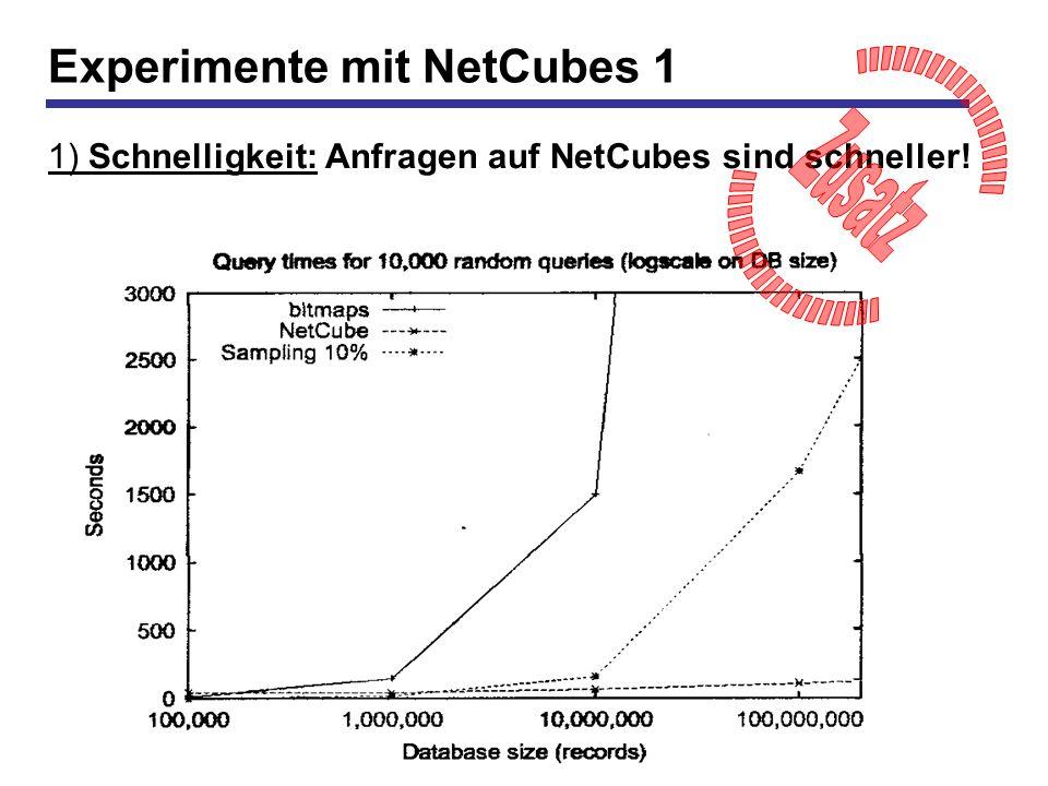 22 Experimente mit NetCubes 1 1) Schnelligkeit: Anfragen auf NetCubes sind schneller!