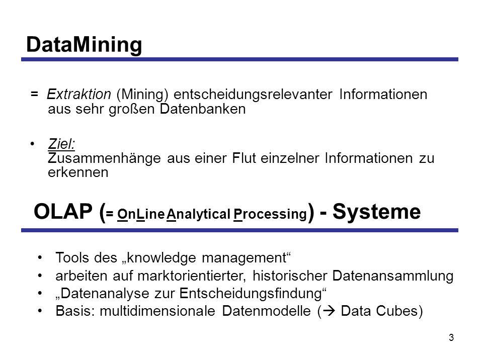 3 DataMining = Extraktion (Mining) entscheidungsrelevanter Informationen aus sehr großen Datenbanken Ziel: Zusammenhänge aus einer Flut einzelner Informationen zu erkennen OLAP ( = OnLine Analytical Processing ) - Systeme Tools des knowledge management arbeiten auf marktorientierter, historischer Datenansammlung Datenanalyse zur Entscheidungsfindung Basis: multidimensionale Datenmodelle ( Data Cubes)