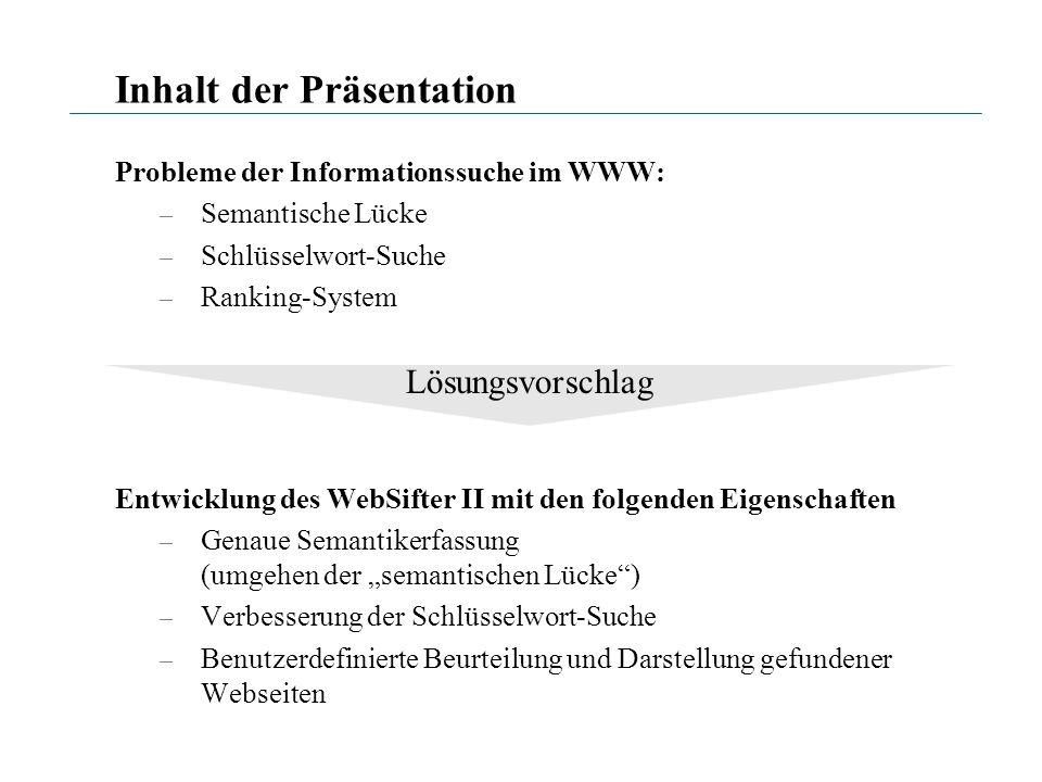 Inhalt der Präsentation Probleme der Informationssuche im WWW: – Semantische Lücke – Schlüsselwort-Suche – Ranking-System Entwicklung des WebSifter II
