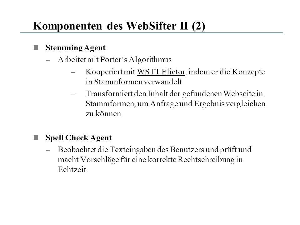 Komponenten des WebSifter II (2) Stemming Agent – Arbeitet mit Porters Algorithmus –Kooperiert mit WSTT Elictor, indem er die Konzepte in Stammformen