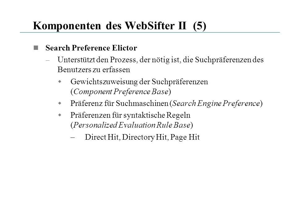 Komponenten des WebSifter II (5) Search Preference Elictor – Unterstützt den Prozess, der nötig ist, die Suchpräferenzen des Benutzers zu erfassen Gew
