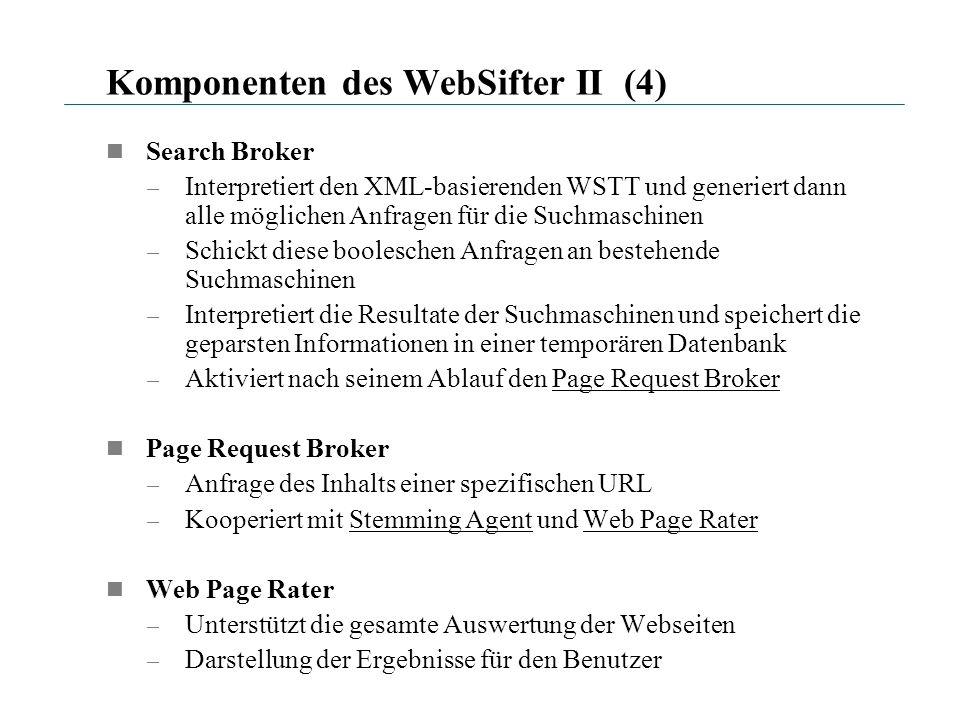 Komponenten des WebSifter II (4) Search Broker – Interpretiert den XML-basierenden WSTT und generiert dann alle möglichen Anfragen für die Suchmaschin