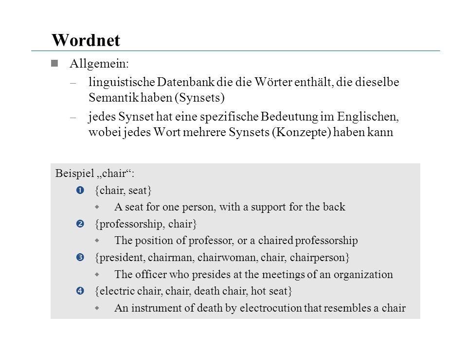 Wordnet Allgemein: – linguistische Datenbank die die Wörter enthält, die dieselbe Semantik haben (Synsets) – jedes Synset hat eine spezifische Bedeutu