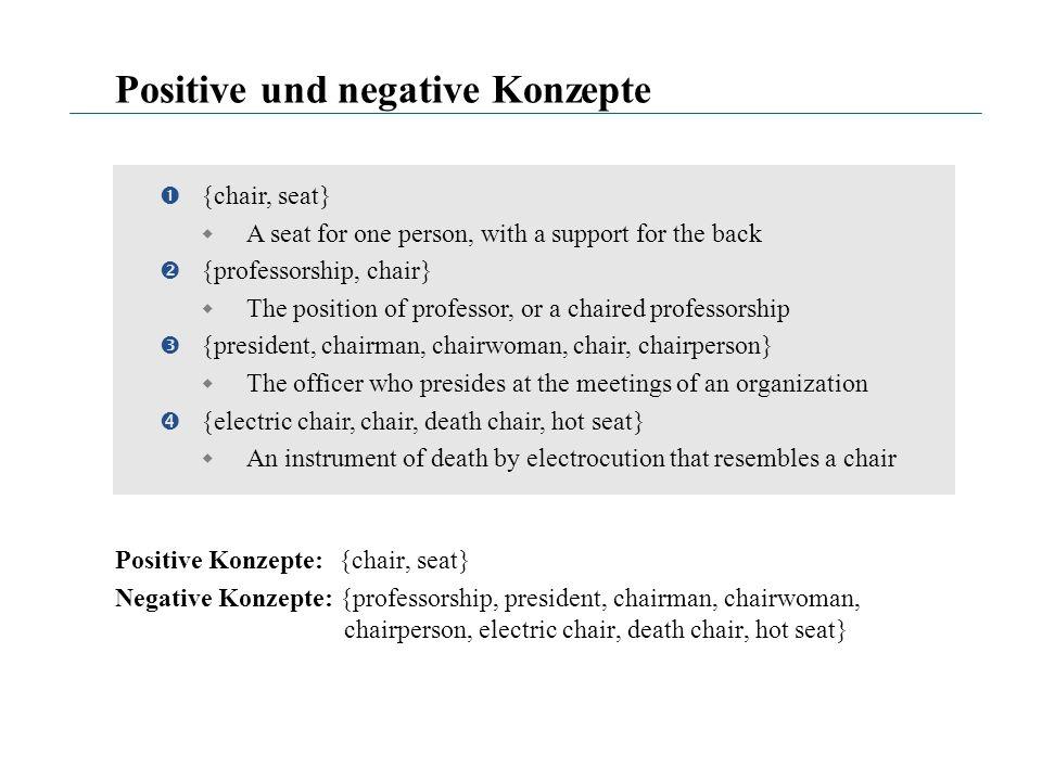 Positive und negative Konzepte Positive Konzepte: {chair, seat} Negative Konzepte: {professorship, president, chairman, chairwoman, chairperson, elect