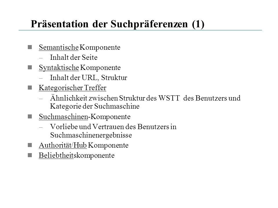 Präsentation der Suchpräferenzen (1) Semantische Komponente – Inhalt der Seite Syntaktische Komponente – Inhalt der URL, Struktur Kategorischer Treffe