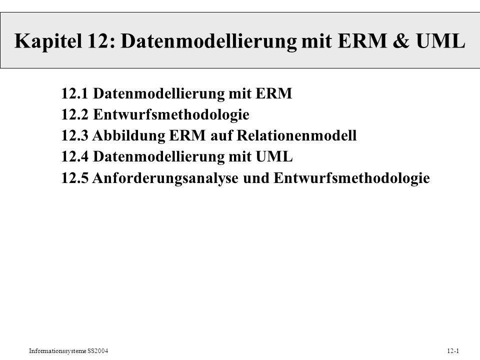 Informationssysteme SS200412-1 Kapitel 12: Datenmodellierung mit ERM & UML 12.1 Datenmodellierung mit ERM 12.2 Entwurfsmethodologie 12.3 Abbildung ERM