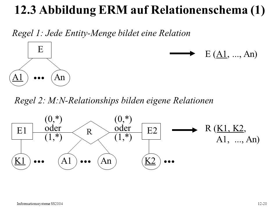 Informationssysteme SS200412-20 12.3 Abbildung ERM auf Relationenschema (1) Regel 1: Jede Entity-Menge bildet eine Relation E A1An... E (A1,..., An) R