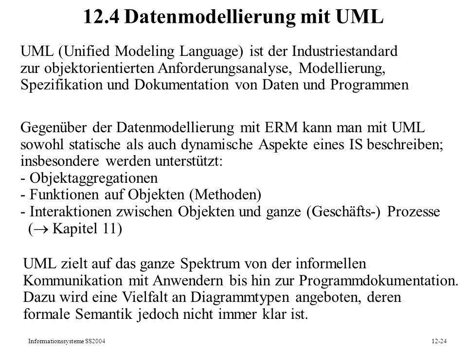 Informationssysteme SS200412-24 12.4 Datenmodellierung mit UML UML (Unified Modeling Language) ist der Industriestandard zur objektorientierten Anford