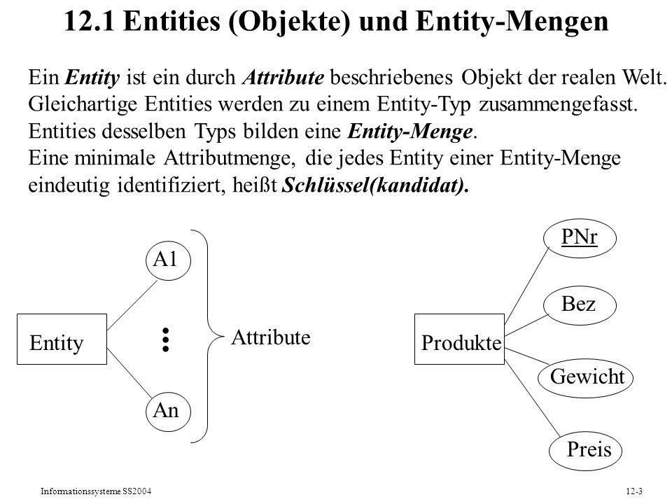 Informationssysteme SS200412-24 12.4 Datenmodellierung mit UML UML (Unified Modeling Language) ist der Industriestandard zur objektorientierten Anforderungsanalyse, Modellierung, Spezifikation und Dokumentation von Daten und Programmen Gegenüber der Datenmodellierung mit ERM kann man mit UML sowohl statische als auch dynamische Aspekte eines IS beschreiben; insbesondere werden unterstützt: - Objektaggregationen - Funktionen auf Objekten (Methoden) - Interaktionen zwischen Objekten und ganze (Geschäfts-) Prozesse ( Kapitel 11) UML zielt auf das ganze Spektrum von der informellen Kommunikation mit Anwendern bis hin zur Programmdokumentation.