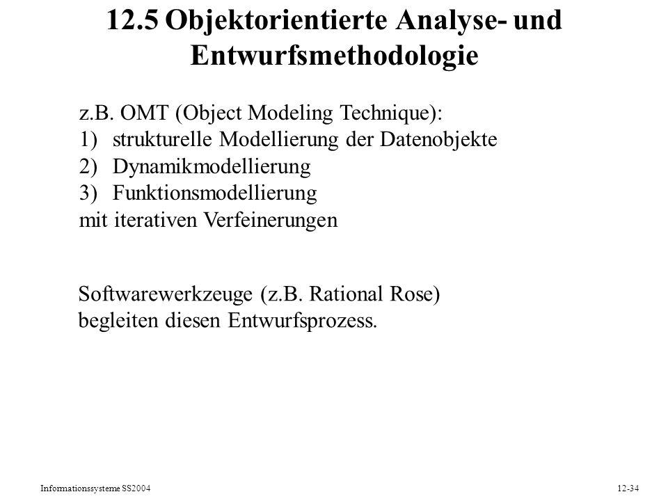 Informationssysteme SS200412-34 12.5 Objektorientierte Analyse- und Entwurfsmethodologie z.B. OMT (Object Modeling Technique): 1)strukturelle Modellie