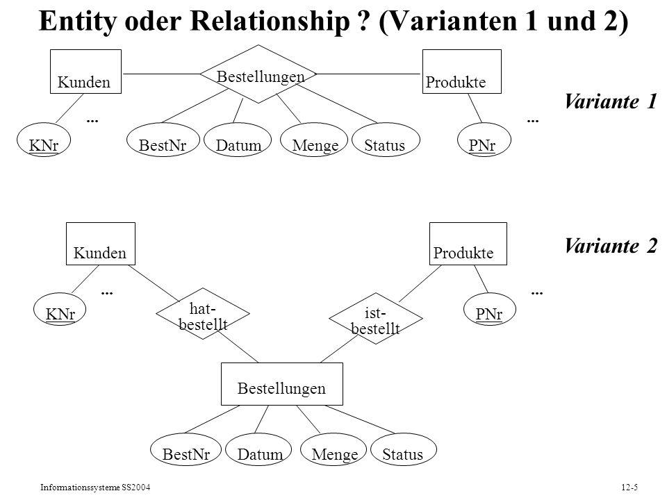 Informationssysteme SS200412-6 Entity oder Relationship .
