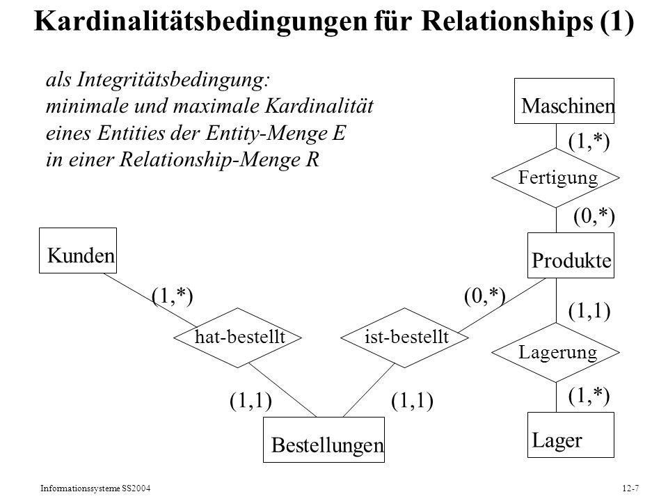 Informationssysteme SS200412-7 Kardinalitätsbedingungen für Relationships (1) Kunden Produkte hat-bestellt Bestellungen Maschinen Lager ist-bestellt F