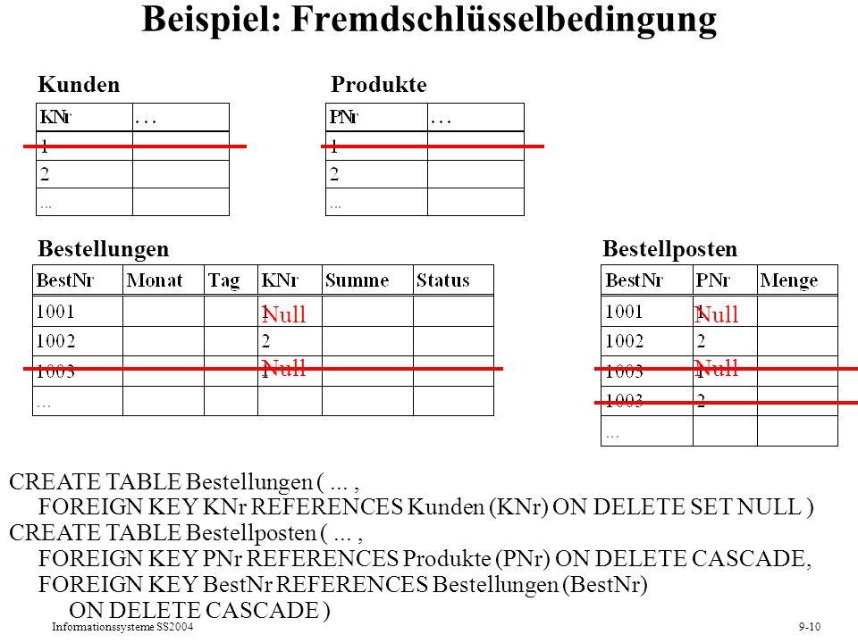Informationssysteme SS20049-10 Beispiel: Fremdschlüsselbedingung CREATE TABLE Bestellungen (..., FOREIGN KEY KNr REFERENCES Kunden (KNr) ON DELETE SET