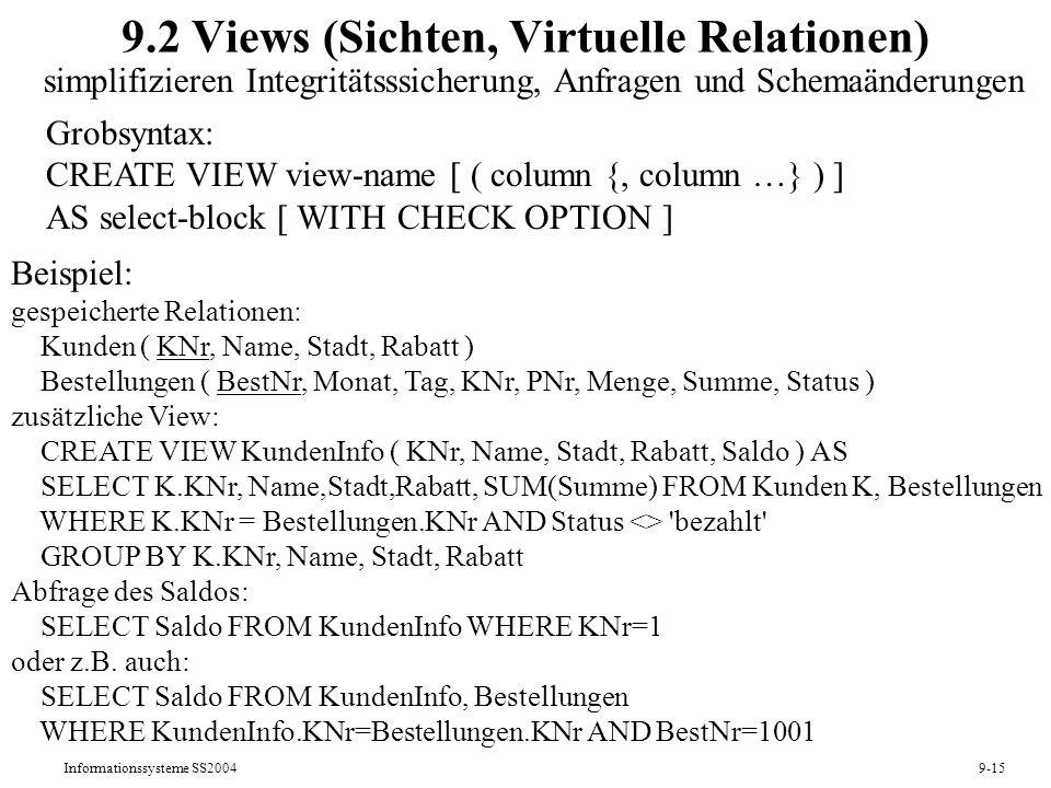 Informationssysteme SS20049-15 9.2 Views (Sichten, Virtuelle Relationen) simplifizieren Integritätsssicherung, Anfragen und Schemaänderungen Grobsynta