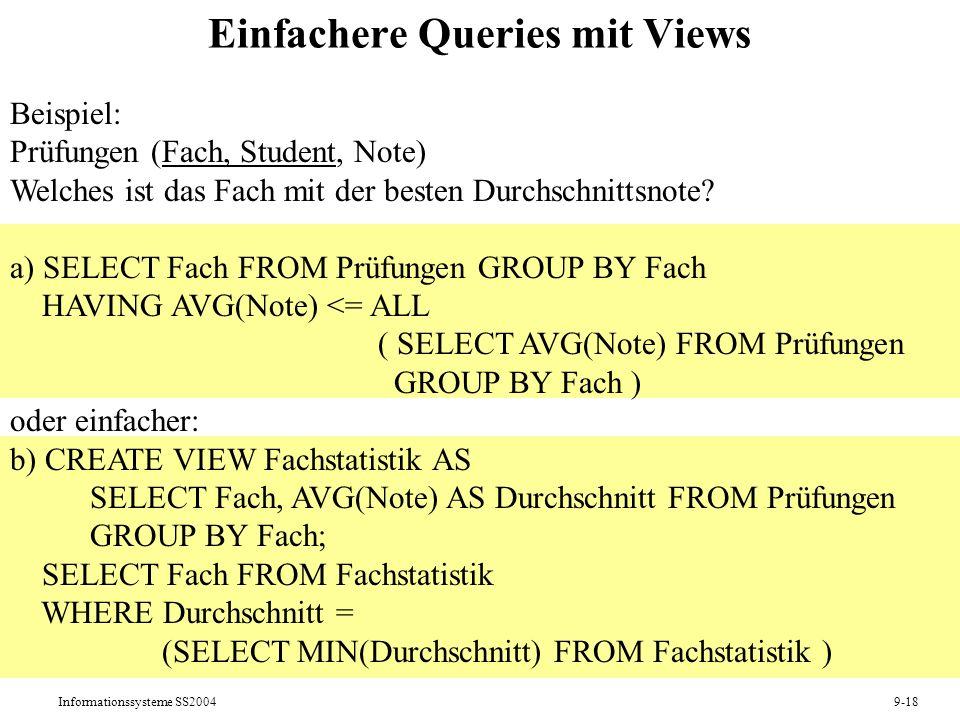 Informationssysteme SS20049-18 Einfachere Queries mit Views Beispiel: Prüfungen (Fach, Student, Note) Welches ist das Fach mit der besten Durchschnitt