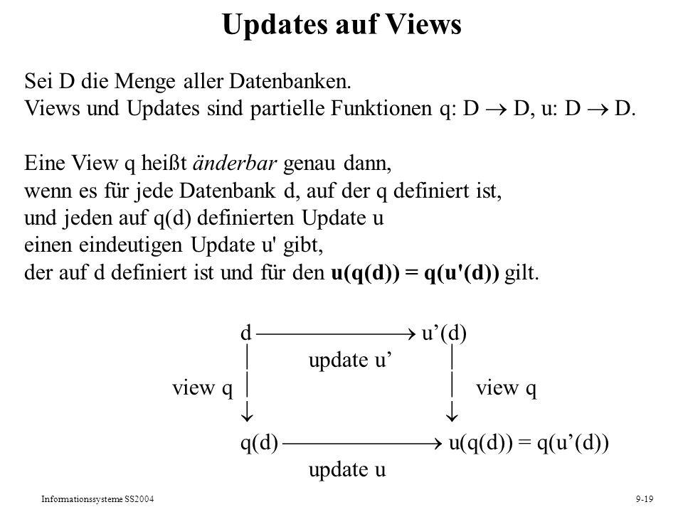 Informationssysteme SS20049-19 Updates auf Views d u(d) update u view q q(d) u(q(d)) = q(u(d)) update u Sei D die Menge aller Datenbanken. Views und U
