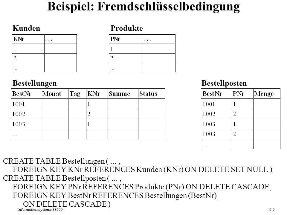 Informationssysteme SS20049-9 Beispiel: Fremdschlüsselbedingung CREATE TABLE Bestellungen (..., FOREIGN KEY KNr REFERENCES Kunden (KNr) ON DELETE SET