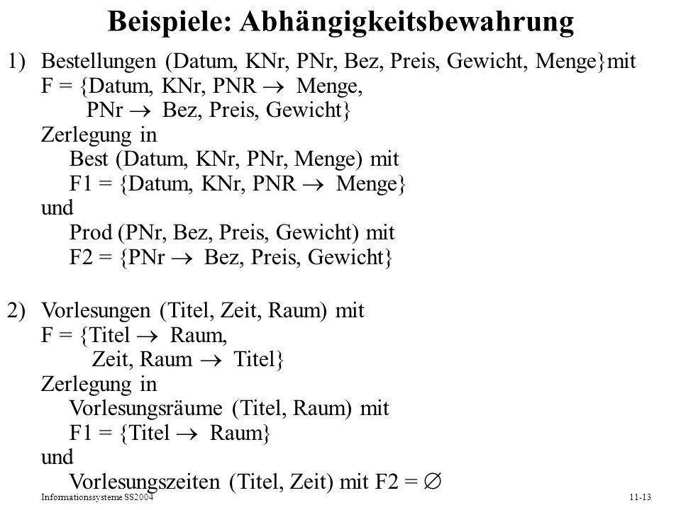 Informationssysteme SS200411-13 Beispiele: Abhängigkeitsbewahrung 1)Bestellungen (Datum, KNr, PNr, Bez, Preis, Gewicht, Menge}mit F = {Datum, KNr, PNR