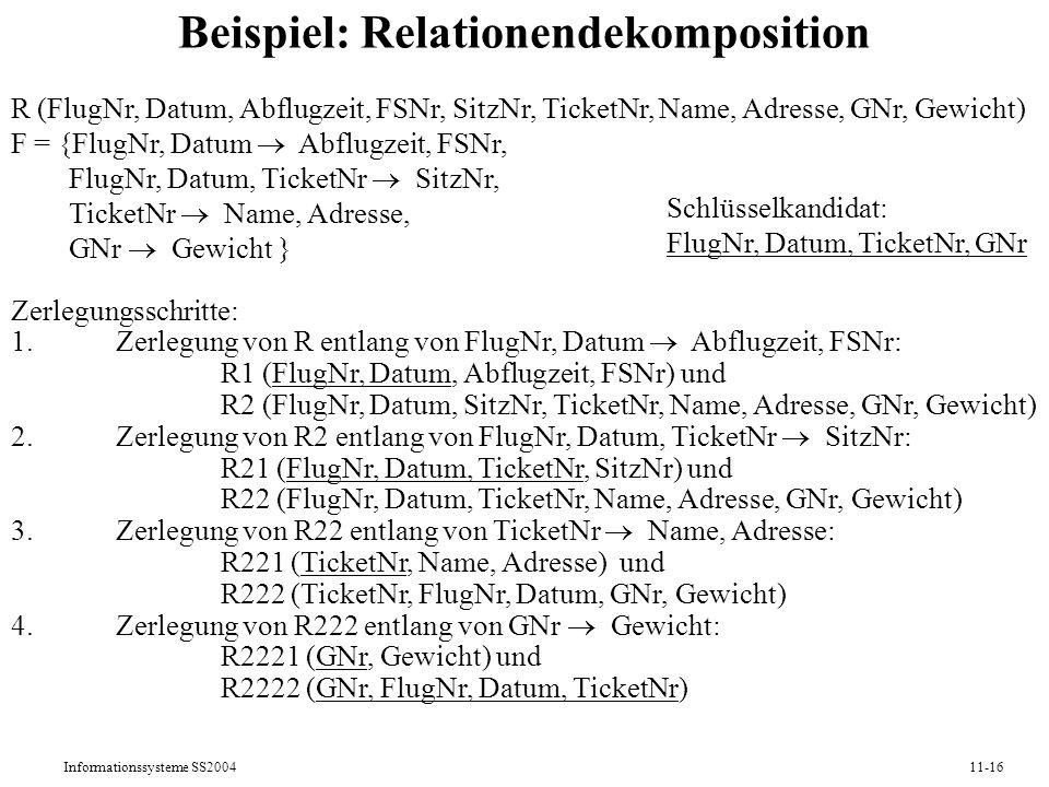 Informationssysteme SS200411-16 Beispiel: Relationendekomposition R (FlugNr, Datum, Abflugzeit, FSNr, SitzNr, TicketNr, Name, Adresse, GNr, Gewicht) F