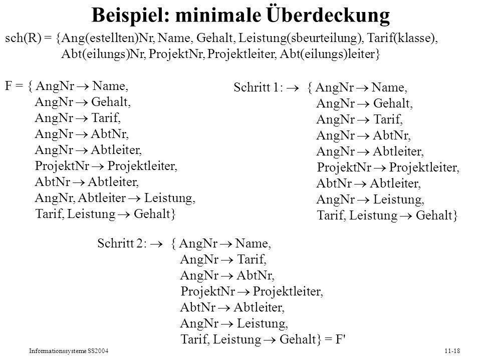 Informationssysteme SS200411-18 Beispiel: minimale Überdeckung sch(R) = {Ang(estellten)Nr, Name, Gehalt, Leistung(sbeurteilung), Tarif(klasse), Abt(ei