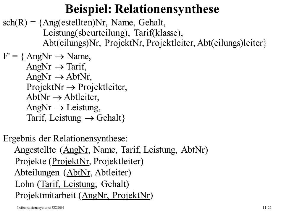 Informationssysteme SS200411-21 Beispiel: Relationensynthese sch(R) = {Ang(estellten)Nr, Name, Gehalt, Leistung(sbeurteilung), Tarif(klasse), Abt(eilu