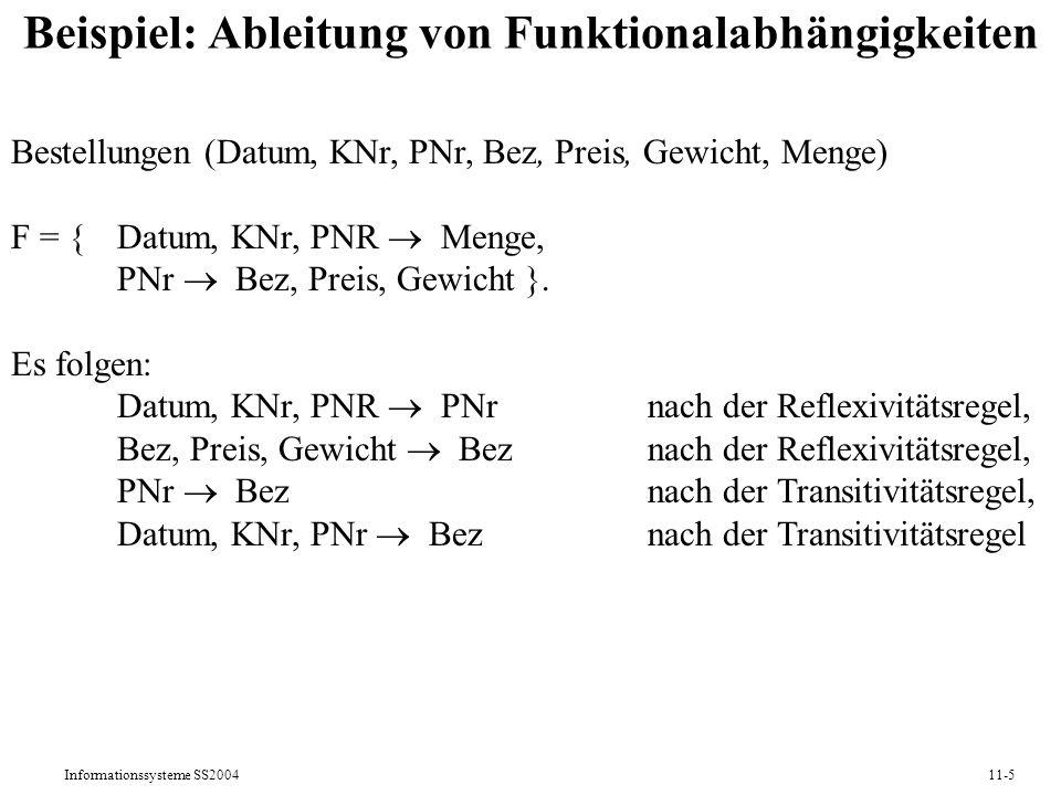 Informationssysteme SS200411-5 Beispiel: Ableitung von Funktionalabhängigkeiten Bestellungen (Datum, KNr, PNr, Bez, Preis, Gewicht, Menge) F = {Datum,