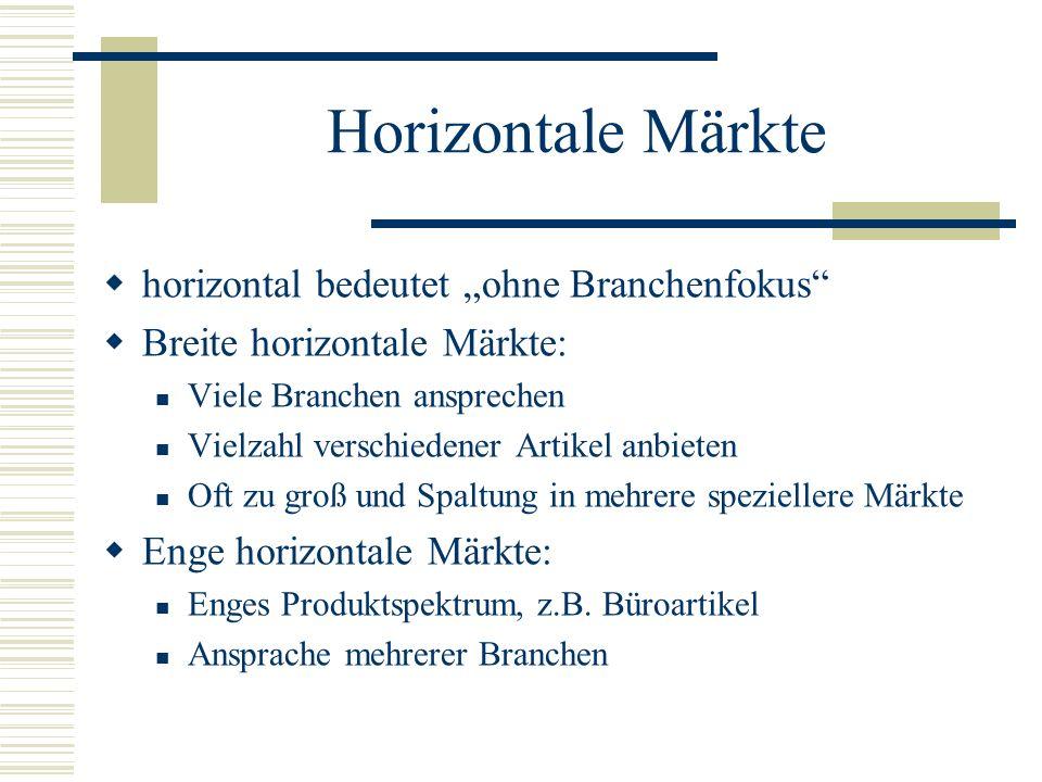 Horizontale Märkte horizontal bedeutet ohne Branchenfokus Breite horizontale Märkte: Viele Branchen ansprechen Vielzahl verschiedener Artikel anbieten