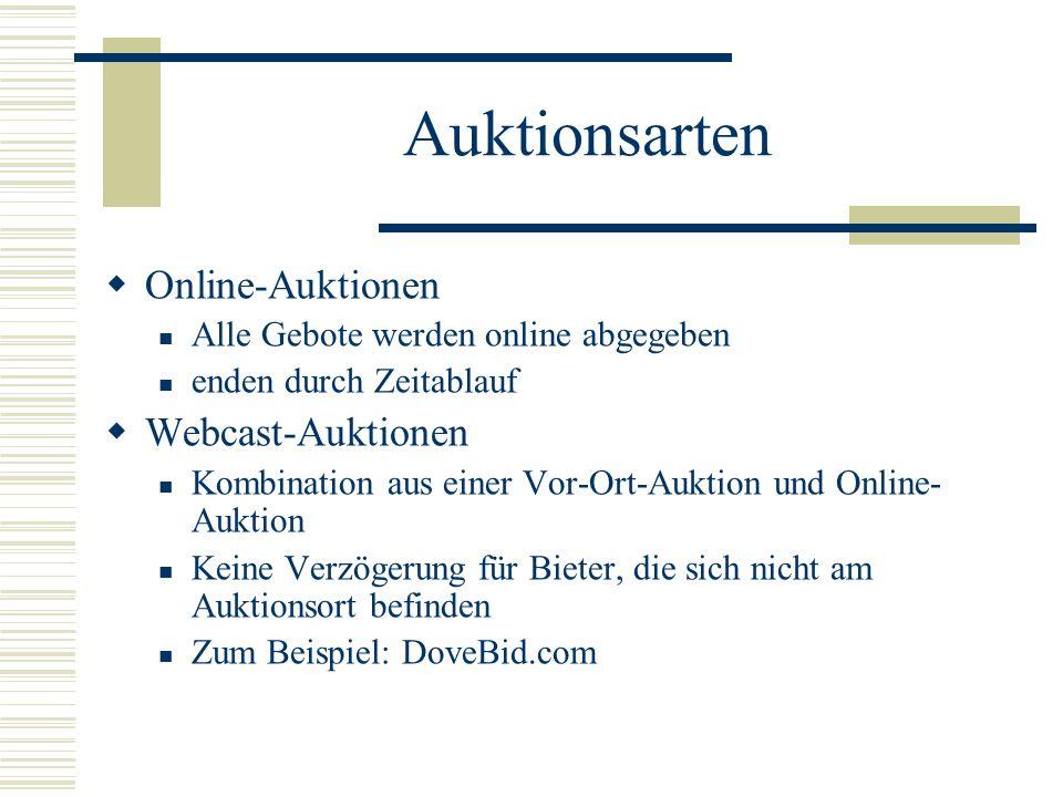 Auktionsarten Online-Auktionen Alle Gebote werden online abgegeben enden durch Zeitablauf Webcast-Auktionen Kombination aus einer Vor-Ort-Auktion und